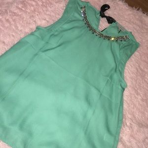 Tops - Robin egg blue tank with silver fake necklace